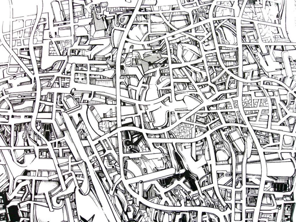 _dessin récticulaire 1_ 2012-2013, Encre et letraset sur papier, 160 x 300 cm, detail 1 (Copier)